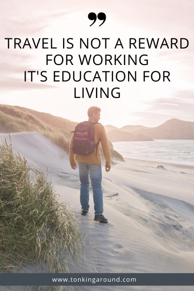 Travel is not a reward for working, it's education for living.